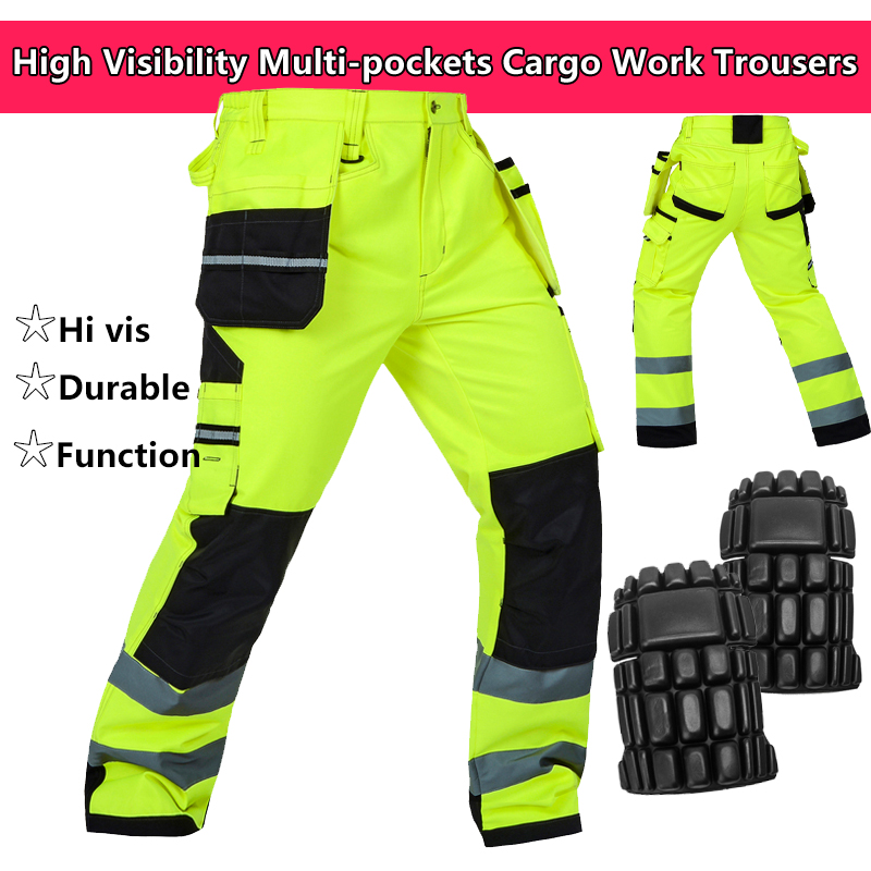цена на Bauskydd Hi vis tool pocket pant functional safety workwear work trousers cargo work pant with knee pads free shipping