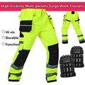Oi vis ferramenta de trabalho workwear segurança funcional do bolso da calça calças de trabalho de carga de segurança pant pant com joelheiras frete grátis