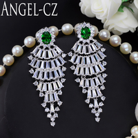ANGELCZ Exquisite Wedding Party Jewelry Green Long Chandelier Cubic Zirconia Stone Bridal Big Drop Earrings For