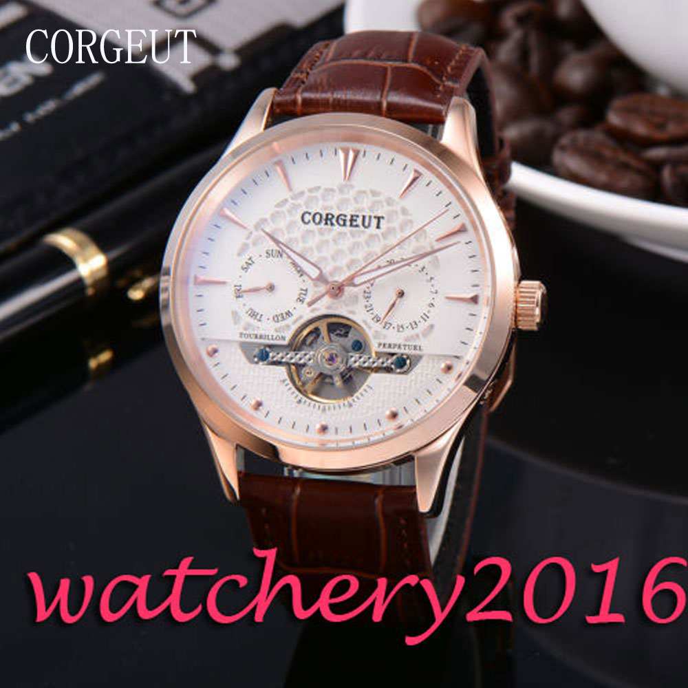 Luxury 44mm Corgeut White Dial Gold Marks Genuine Leather Strap Automatic movement men's Watch ultra luxury 2 3 5 modes german motor watch winder white color wooden black pu leater inside automatic watch winder