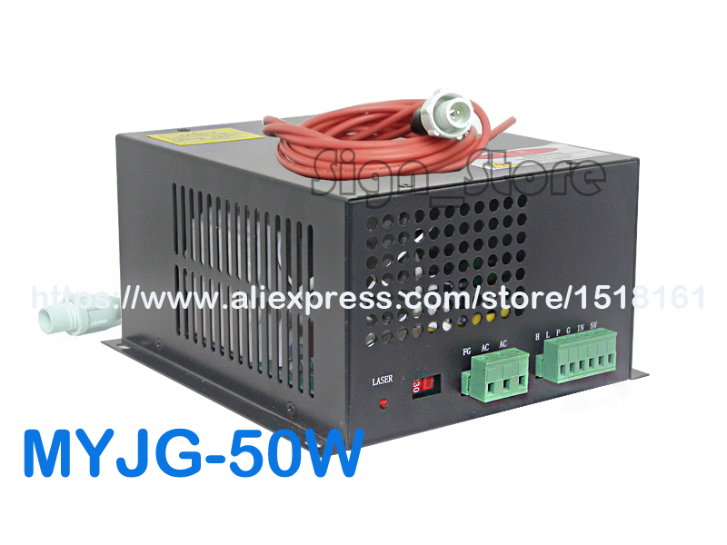 MYJG-50W CO2 Laser Power Supply 110V/220V High Voltage PSU for 50 Watt Tube Engraving Cutting Machine Engraver Cutter Equipment