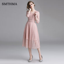 SMTHMA 2019 Spring Lace Dress Work Casual Slim Work Women Party Dresses V-neck Sexy Hollow Out Pink Long Dress Vestidos(China)