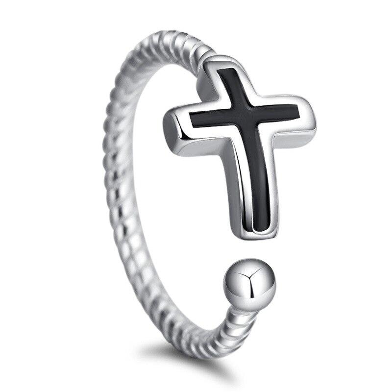 1PCS Simple Copper Silver Rings for Women Vintage Black Cross Open Ring Adjustable Index Finger Ring Hemp Rope Bague Femme