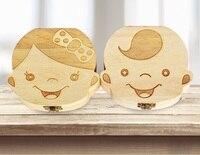 50 шт. испанский английский Краски зуб Коробка органайзер для ребенка молочные зубы сохранить дерева коробка для хранения подарок для детей,