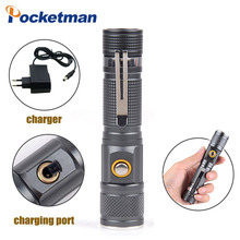Bright 8000 Lumens Zoomable XM-L T6 Flashlight  3 Modes 18650 Battery Tactical Direct Charging Torch Portable Aluminum 2300lm searchlight 3 modes handheld xm l t6 zoomable rechargeable led portable spotlight 18650 flashlight torch lamp