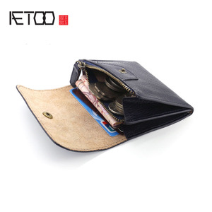 Image 3 - AETOO Handmade Coin Purse Headband Vegetable Tanned Leather Coins Pack Men & Women Retro Mini Leather Card Pack Small Wallet Tid