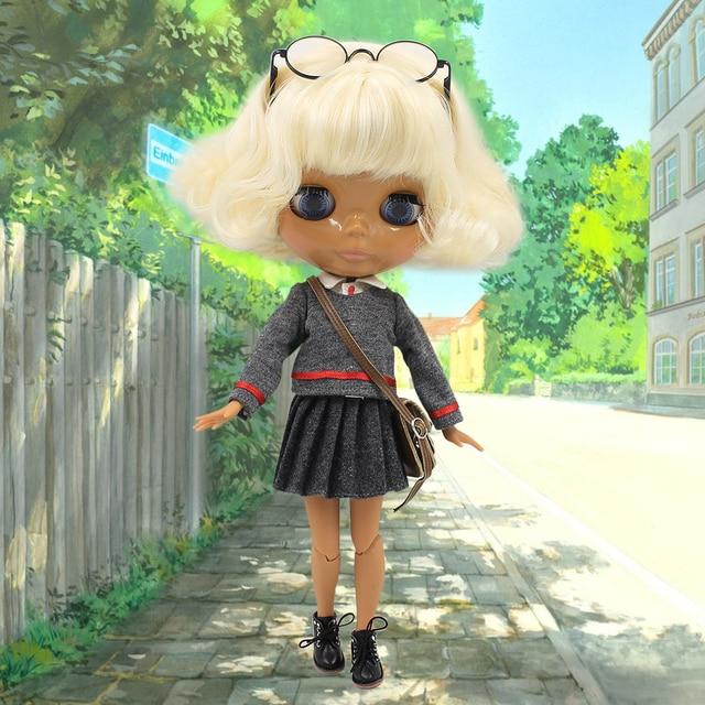 free shipping factory nude doll light golden short wavy hair dark skin joint body school uniform glasses shirt bag shoes skirt