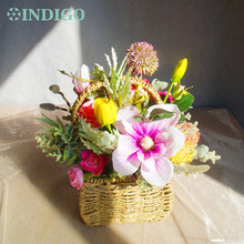 INDIGO- Exclusive Sales Pink Flower Basket Arrangement Housewarming Gift  Artificial Party Event Free Shipping