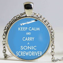 Keep Calm and Carry a Sonic Screwdriver Image Pendant pendant Glass Necklace(China)