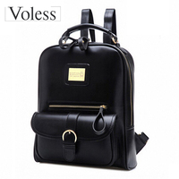 2015 Fashion Vintage Black PU Leather Backpack Women Preppy School Bags New Designer Cheap Backpack Brand