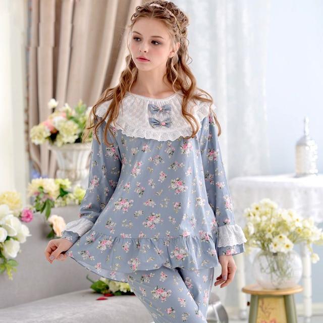 Глобальный Доставка Принцесса Кружева С Длинными Рукавами Женщин Пижамы Тканые 100% Хлопок Пижамы Тонкий Толстый Гостиная Пижамы Набор