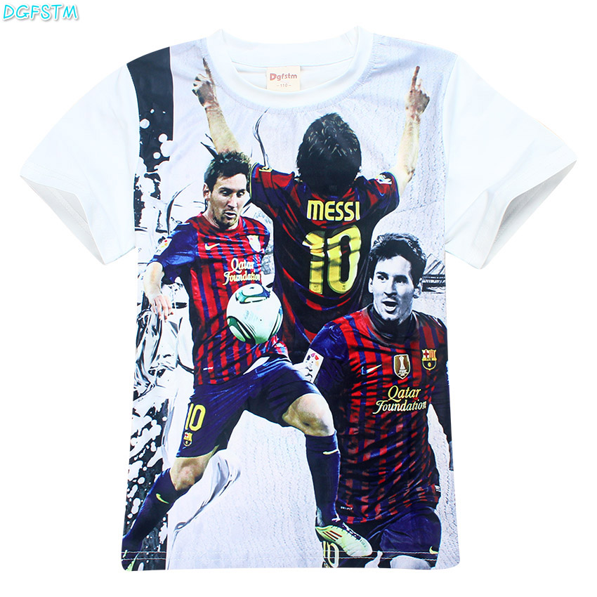 Boy Barcelona t shirt Children clothing short sleeve tees teen age baby clothing summer kids tops Football T-shirt Football star