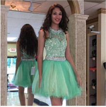 2016 Sexy Sleeveless High Neck Prom Dress Mini Two Pieces Prom Dress Vestido De Baile With Pleat Prom Dress Custom Made
