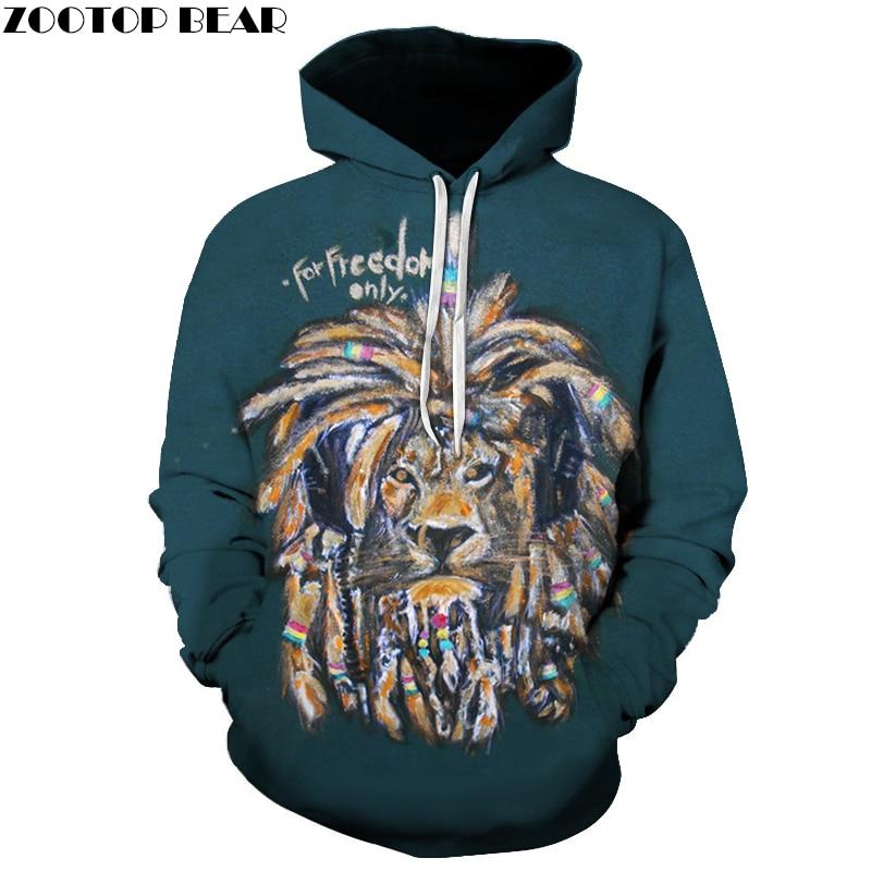 Men Women Hoodies Autumn Spring Sweatshirts Lion Printed Rock Hooded Streetwear 3D Hip Hop Hoody Punk Pullover Casual Tracksuit