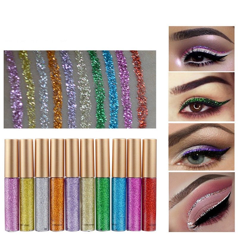Image 2 - 2019 Hot 10 colors Eyeliner Liquid Make Up Beauty Comestics sequins Eye Liner glitter shimmer shiny High Quality Waterproof-in Eyeliner from Beauty & Health