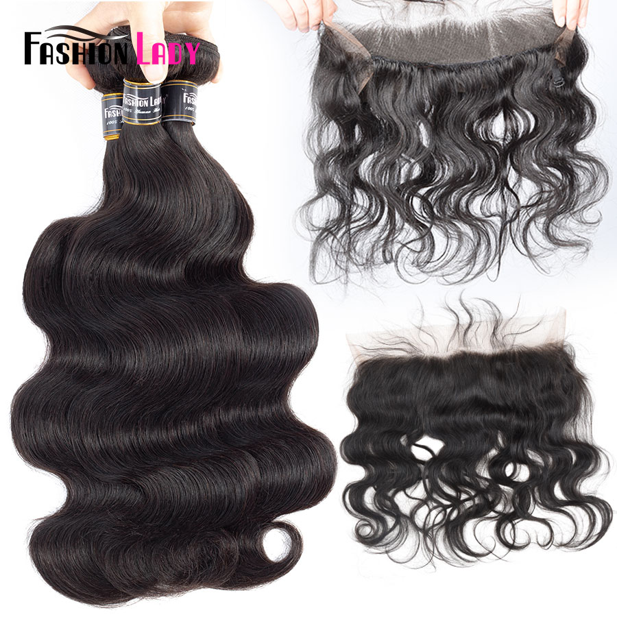 Fashion Lady Brazilian Human Hair Bundles Body Wave With 360 Pre Plucked Lace Frontal Closure With Baby Hair Bleached Knots Remy