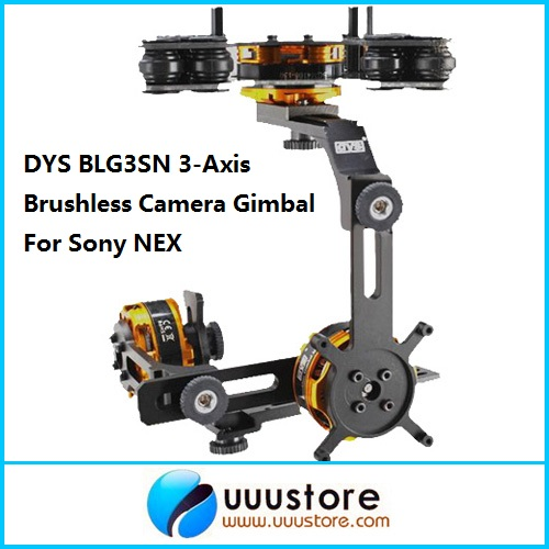 DYS BLG3SN 3-Axis Brushless Camera Gimbal Mount w/3 BGM4108-130 Brushless Motors FPV PTZ RTF For Sony NEX dys 3 axis gimbal mount kit 3pcs 4108 brushless motor 8bit alexmos controller for sony nex ildc camera photography fpv