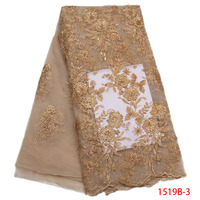 Gold French Lace Fabric With Sequins Beads Pearls High Quality Net Guipure Embroidered Mesh French Tulle