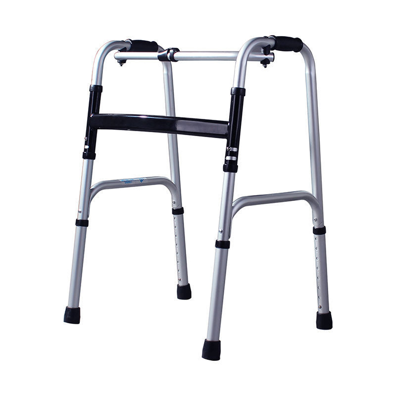 Lightweight Walker for Disabled with Four Foot Foldable Aluminum Alloy Walker 8 Gear Height Adjustable Rehabilitation