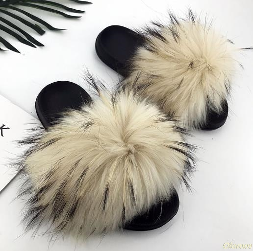 Slippers Women Shoes Flip-Flops Raccoon-Fur Fox-Hair Furry Fluffy Casual Fashion Summer