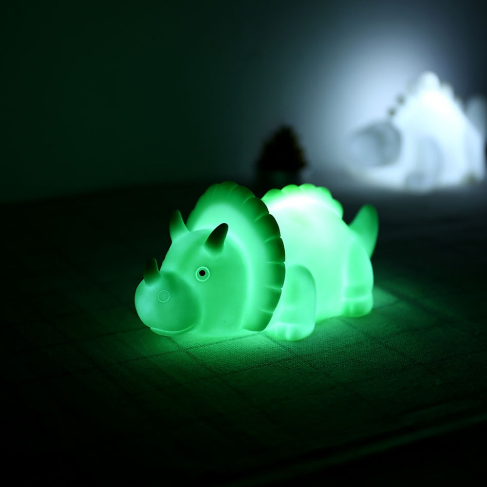 2019 New Year Present For Children Cartoon LED Mini Dinosaur Novelty Funny Toy Luminescent Toys