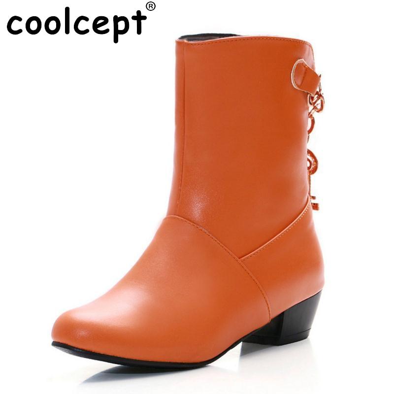 8f6970f356a0 CooLcept Bezpłatna dostawa kostki połowa krótkie buty kobiety śnieg moda  zimowe ciepłe buty obuwie szpilki buty rozmiar EUR P15022 34-47