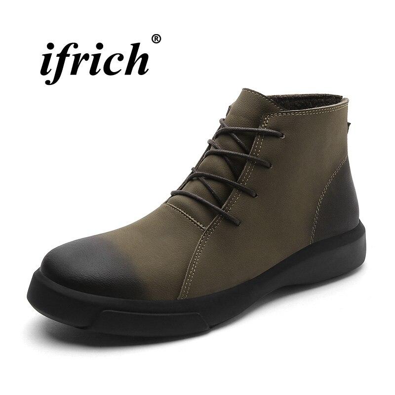 Vintage Brand Men Shoes Fashion Men Boots Inside Fur Winter Boots Male Khaki Black Casual Shoes Ankle Genuine Leather Boots