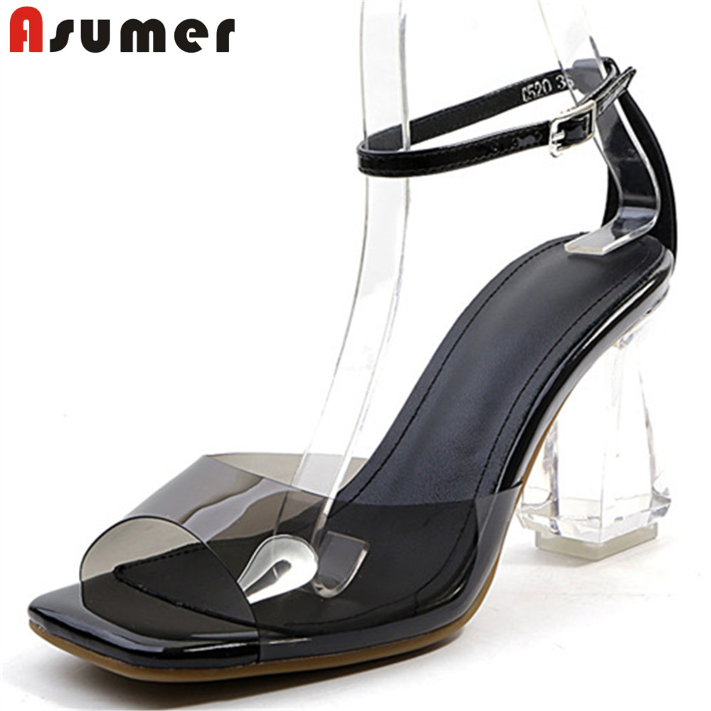 ASUMER 2018 fashion summer new shoes woman buck elegant prom wedding shoes sandals women high heels genuine leather shoes asumer red black fashion summer new shoes woman elegant prom buckle ladies genuine leather high heels sandals