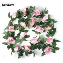 OurWarm 2.3M 16 Heads Silk Rose Garland Pink Ivy Vine Fake Flowers Green Leaves With Home Wedding Decoration