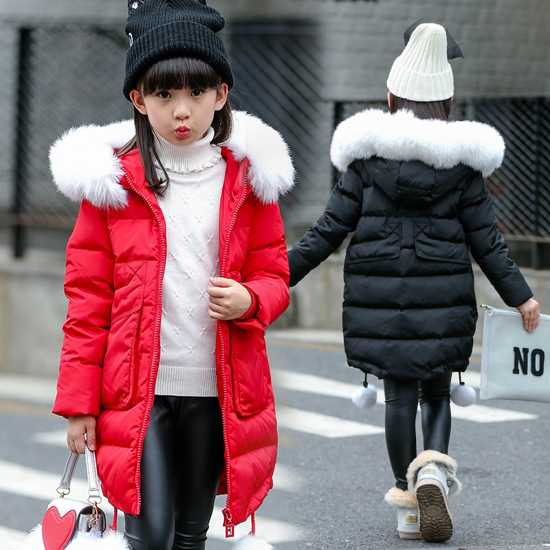 FYH Kids Clothes Winter Girls Big Fur Hooded Parka Xmas Style School Children Outerwear Cotton-padded Warm Thicken Down Jacket winter jacket female parkas hooded fur collar long down cotton jacket thicken warm cotton padded women coat plus size 3xl k450