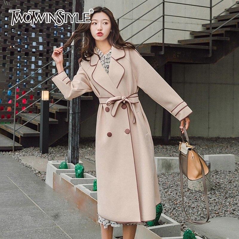 TWOTWINSTYLE Belt Trench Coat Female Bowknot Long Sleeve Windbreaker Women Big Size Fahion Autumn OL 2018 Clothing England Style