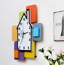 Kingart 14 Children Digital Wooden Cartoon Wall Clock Decorative Kids Room Hanging Watch Clock