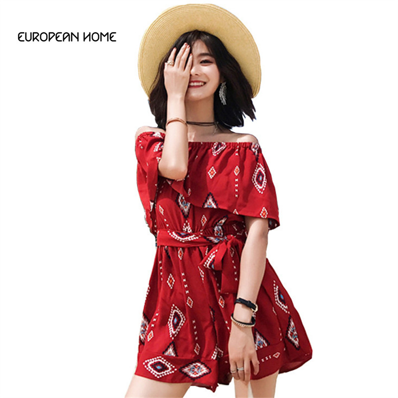Women's Clothing Jumpsuit Short Women Summer 2019 New Wide Leg High Waist Was Thin Print Chiffon Slash-neck Bare Shoulder Loose Jumpsuit Lr75 In Pain