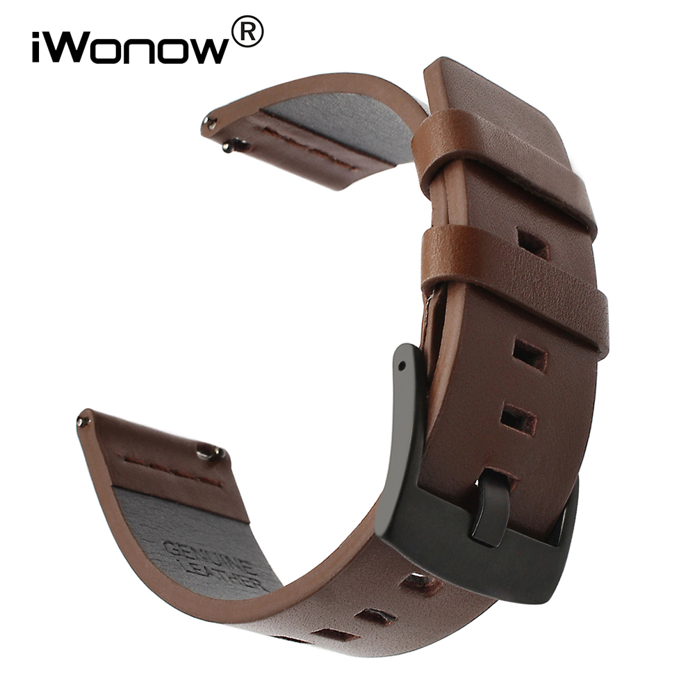 Italian Genuine Oil Leather Watchband For Ticwatch Pro/E2/S2/1 46mm Quick Release Watch Band Sports Wrist Strap Steel Clasp Belt