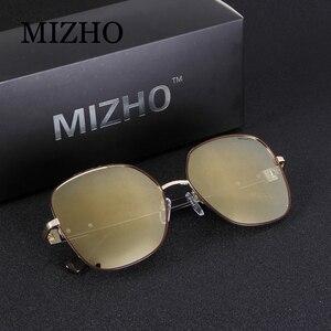 Image 3 - MIZHO 2020 marka miedź Metal plac spolaryzowane okulary dla kobiet lustro niebieski luksusowe stylowe akcesoria optyczne Steampunk wizualne óculos