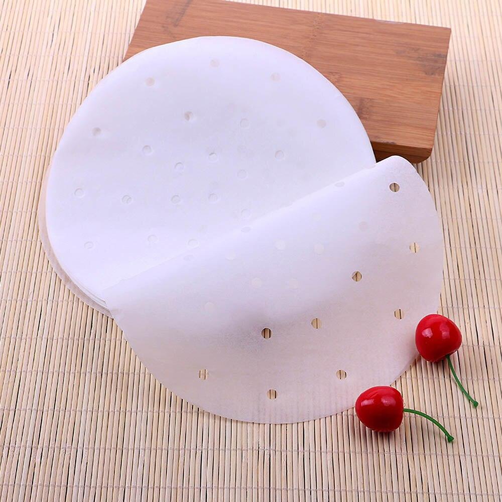100pcs/lot Bamboo Basket Steamer Paper Air Fryer Liners Bamboo Steamer Dim Sum Paper Non-stick Steam Mat Kitchen Cooking Baking
