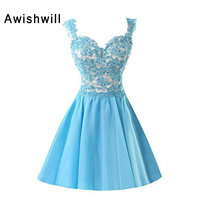 Cheap Cocktail Dresses For Juniors Cap Sleeve Beaded Appliques Satin A Line Short Party Dress Cocktail Gowns
