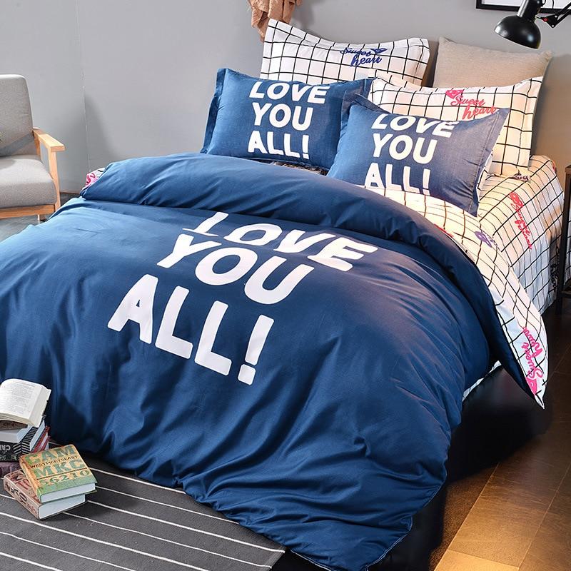 AB Side Solid Plaid Lover Duvet Cover Bedsheet Pillowcase 3/4 pcs Bedding Set Full King Queen Double Size 1.8m 2m 2.2m Bedllinen