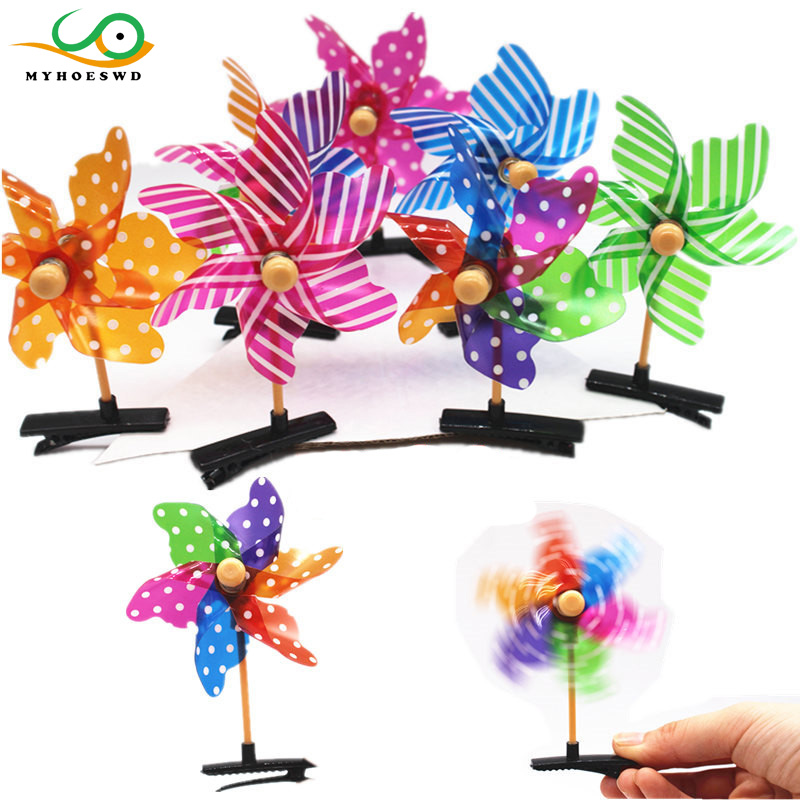 MYHOESWD 20Pcs lot Plastic Windmill Pinwheel DIY Hair Clips for Children Toys Spinner font b Home