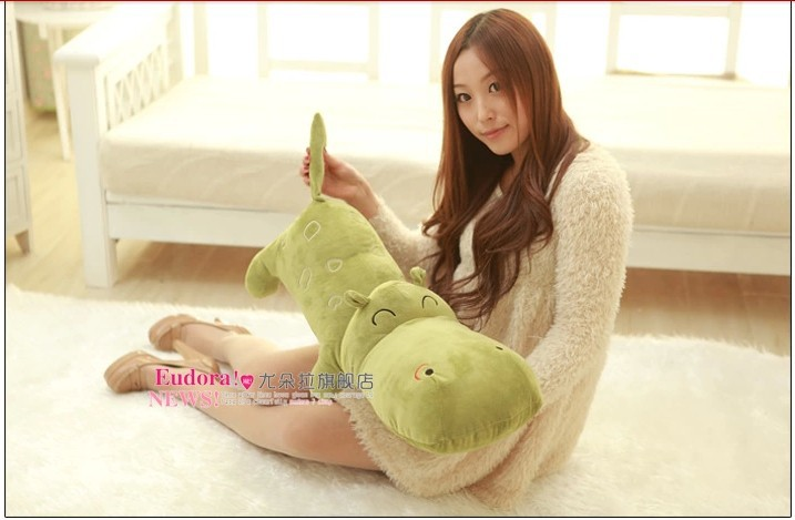 stuffed animal hippo green plush toy about 140cm doll 55 inch Hippopotamus toy throw pillow cushion toy t726 stuffed animal cute yellow banana plush toy 130cm doll cushion throw pillow about 51 inch toy p0169