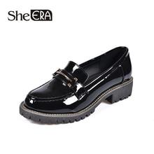 New Fashion Women Leather Shoes British Style Round Toe Shallow Metal Decoration Classic She ERA