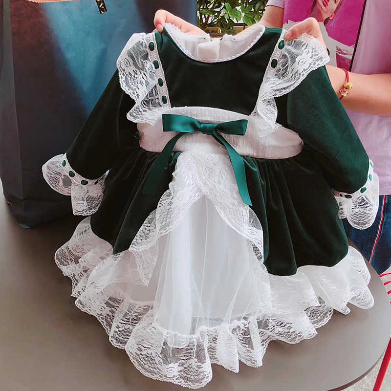 cd847fed9 ... Spain Kids Dress For Christmas Party Bow Lace Baby Girl Princess  Wedding Dresses Children Clothing Xmas ...