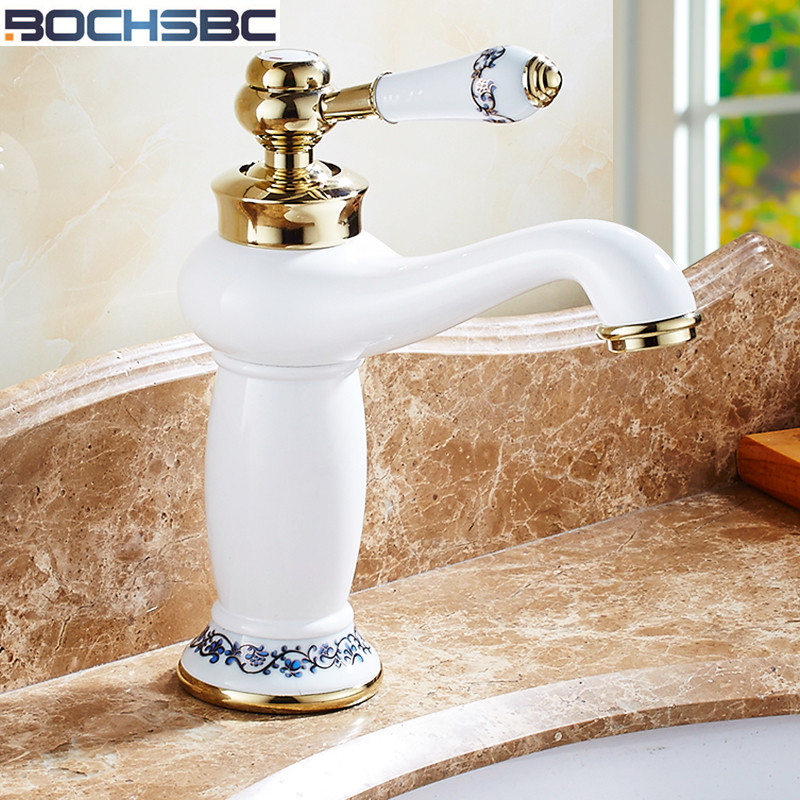Basin Faucets Nice Bochsbc White Porcelain Decoration Basin Faucet Brass Single Handle Hole Kitchen Bathroom Sink European Hot And Cold Mixer Packing Of Nominated Brand Bathroom Sinks,faucets & Accessories