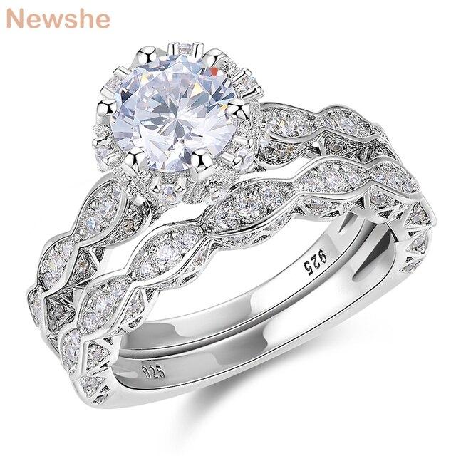 Newshe 2.6Ct Wit Ronde Cut Aaa Cz Vintage Wedding Ring Set Echt 925 Sterling Zilveren Engagement Ringen Voor Vrouwen JR4891