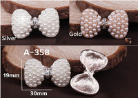Pearl Rhinestone Buttons Flatback Boutons Bling For Jewelry Accessory Wedding Party Supply Flower 20pcs/lot 30mm