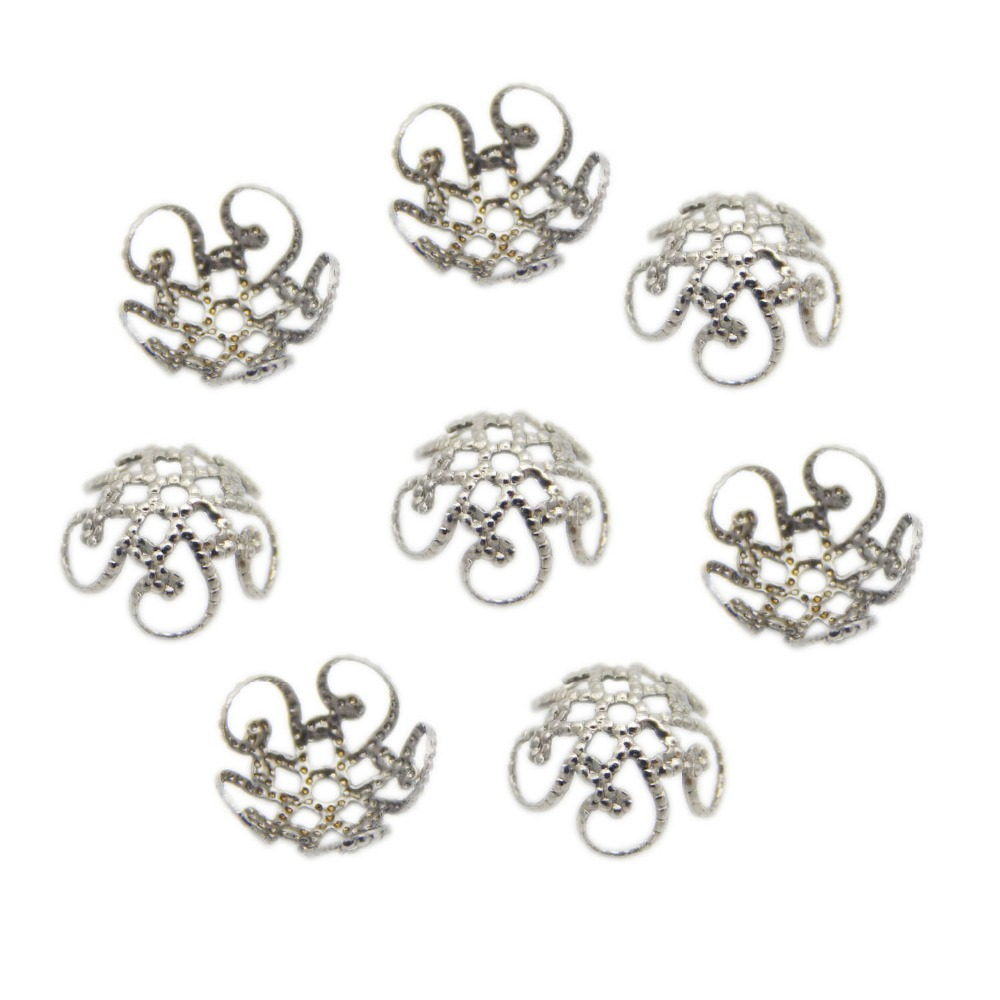 100pcs/lot Stainless Steel Embossed Filigree Bead Cap Silver Tone 8mm 10mm Hollow Out Flower End Beads For Diy Jewelry Making