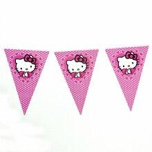 1 Набор бумажных баннеров Вымпел флажки флаг hello kitty кот дети День Рождения вечерние поставки события вечерние украшения для вечеринки набор