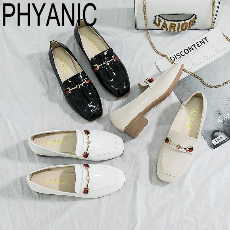 Confortable noir Chaussures Talons 2019 Femme blanc Style Printemps Britannique Nouveau Beige Cuir Oxford En Marche Bureau Métal Décor Bas Phyanic De wXOqHfx