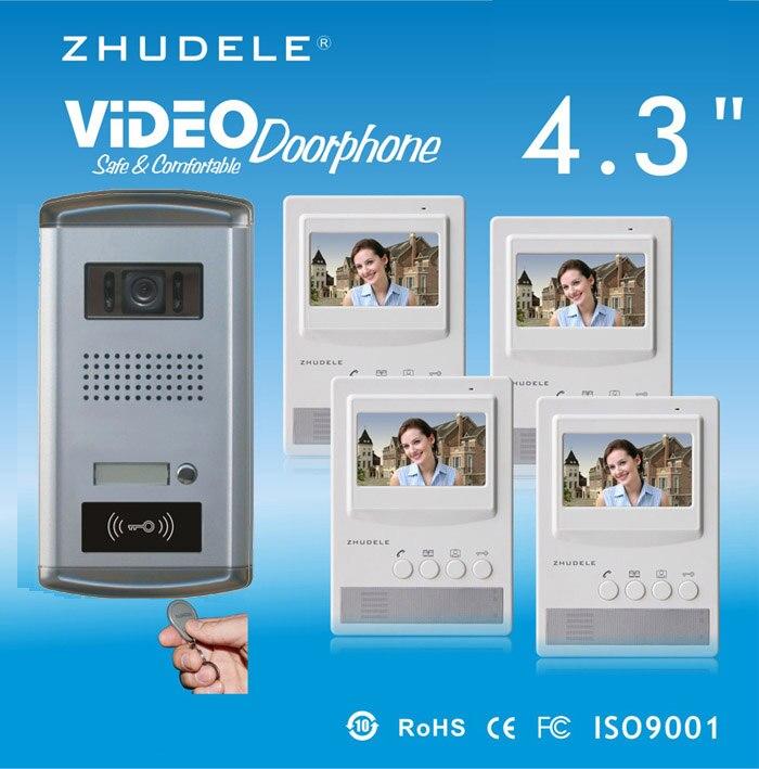 ZHUDELE Home Security Intercom System Kits - 4.3 Inch Video Door Phone Intercom System Doorbell HD Camera w/t ID Card unlocking