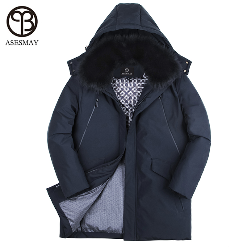 Asesmay 2017 brand high-quality white duck down jacket men winter coat goose feather thick mens down parka warm casual outwear